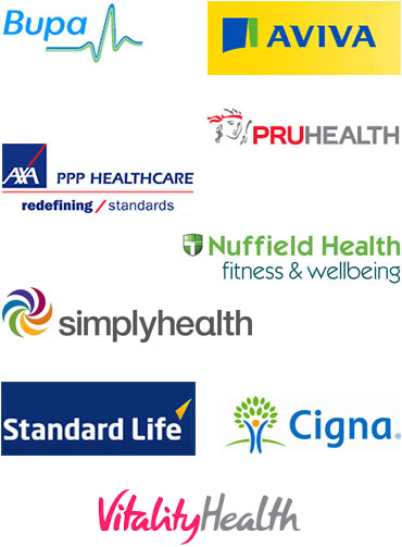 Advantage Physiotherapy Affilations; Bupa, Aviva, PruHealth, Axa PPP Heathcare, Nuffield Health, Simply Health, Standard Life, Cigna.